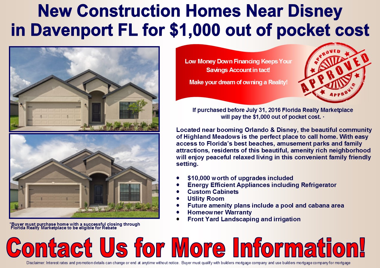 New construction homes near disney for 1 000 out of for Cost of new home construction